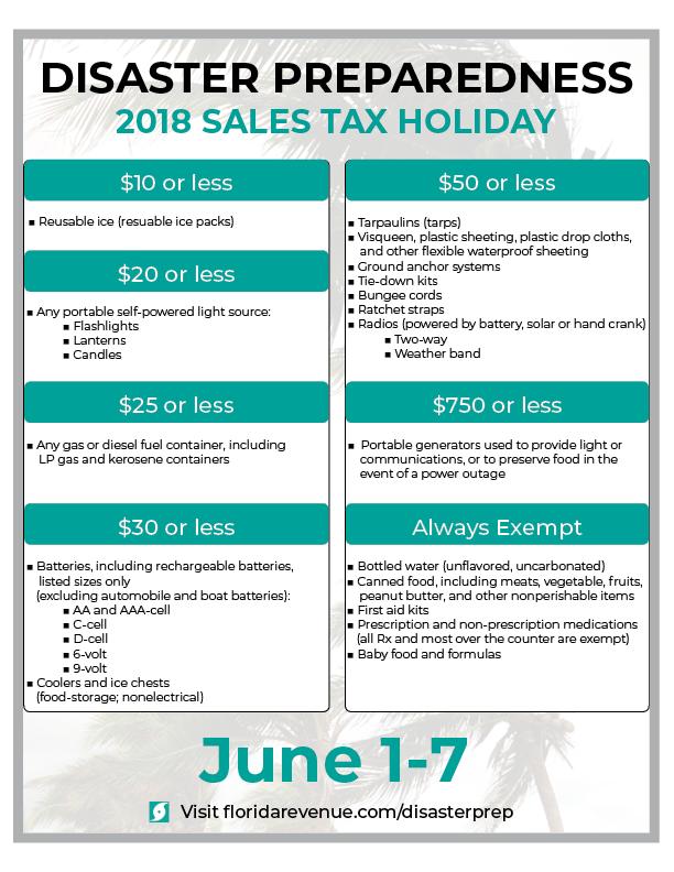 Tax Free Holiday 2018